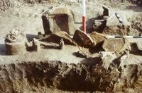 Chronicle of the Archaeological Excavations in Romania, 2001 Campaign. Report no. 2, Adâncata, Imaş<br /><a href='http://foto.cimec.ro/cronica/2001/002/t2-craniu-adult-mormant-c.JPG' target=_blank>Display the same picture in a new window</a>