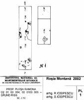 Cronica Cercetărilor Arheologice din România, Campania 2002. Raportul nr. 2, Abrud, Valea Seliştei (Seliştei Valley).<br /> Sectorul planuri.<br /><a href='http://foto.cimec.ro/cronica/2002/002/planuri/01.jpg' target=_blank>Priveşte aceeaşi imagine într-o fereastră nouă</a>