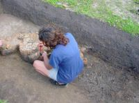 Chronicle of the Archaeological Excavations in Romania, 2003 Campaign. Report no. 4, Adâncata, Dealul Lipovanului.<br /> Sector T8 2003.<br /><a href='http://foto.cimec.ro/cronica/2003/004/T8-2003/adancata-vatra-t8-spaclu.JPG' target=_blank>Display the same picture in a new window</a>
