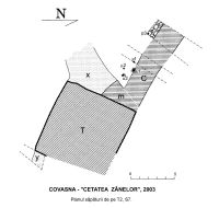Chronicle of the Archaeological Excavations in Romania, 2003 Campaign. Report no. 63, Covasna, Curmătura (In Cier)<br /><a href='http://foto.cimec.ro/cronica/2003/063/covasna-pl-1-plan.jpg' target=_blank>Display the same picture in a new window</a>
