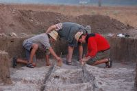 Chronicle of the Archaeological Excavations in Romania, 2008 Campaign. Report no. 30, Frumuşeni, Mănăstirea Bizere (Fântâna Turcului)<br /><a href='http://foto.cimec.ro/cronica/2008/030/conservare-barca.JPG' target=_blank>Display the same picture in a new window</a>