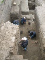 Chronicle of the Archaeological Excavations in Romania, 2008 Campaign. Report no. 34, Hârşova, Tell<br /><a href='http://foto.cimec.ro/cronica/2008/034/foto-9-o-parte-din-echipa-pe-zidurile-din-estul-sectiunii.jpg' target=_blank>Display the same picture in a new window</a>