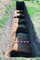 Chronicle of the Archaeological Excavations in Romania, 2014 Campaign. Report no. 38, Frumuşeni, Mănăstirea Bizere (Fântâna Turcului)<br /><a href='http://foto.cimec.ro/cronica/2014/038-Frumuseni/fig-4-structura-palisada-gropi-morminte-s119.JPG' target=_blank>Display the same picture in a new window</a>